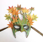 Leather Tree Mask with Fabric Leaves