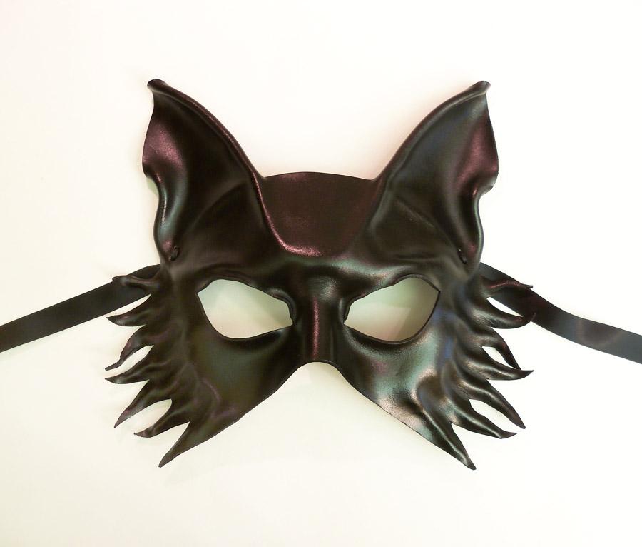 Black Leather mask Wolf Fox Dog by Teonova by teonova