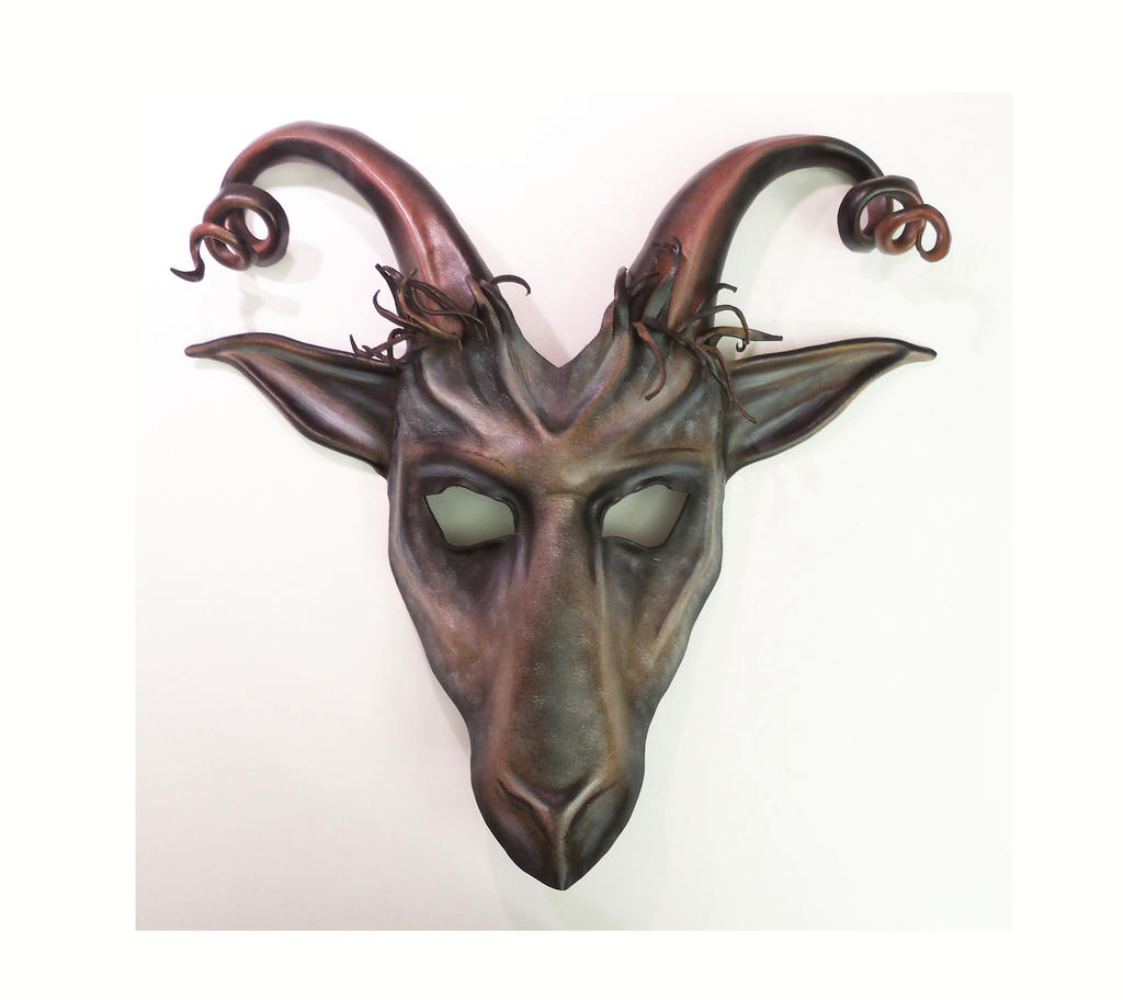 Goat Animal Creature Leather Mask dapple grey by teonova