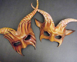 Leather Goat Mask Couples Pair By Teonova