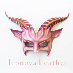 Leather Goat Mask with Pink + Stripes by Teonova