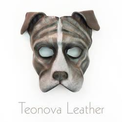 Grey Pit Bull Dog Leather Mask by Teonova