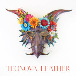Purple Leather Goat Mask with Flowers by Teonova