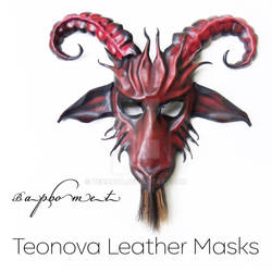 Baphomet Goat Leather Mask In Red by TEONOVA