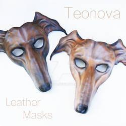 Greyhound Dog Leather Masks Pair By Teonova