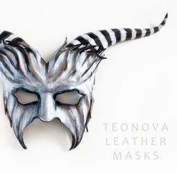 Leather Goat Mask By Teonova Black And White Strip