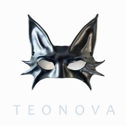 Black Cat Leather Mask By Teonova
