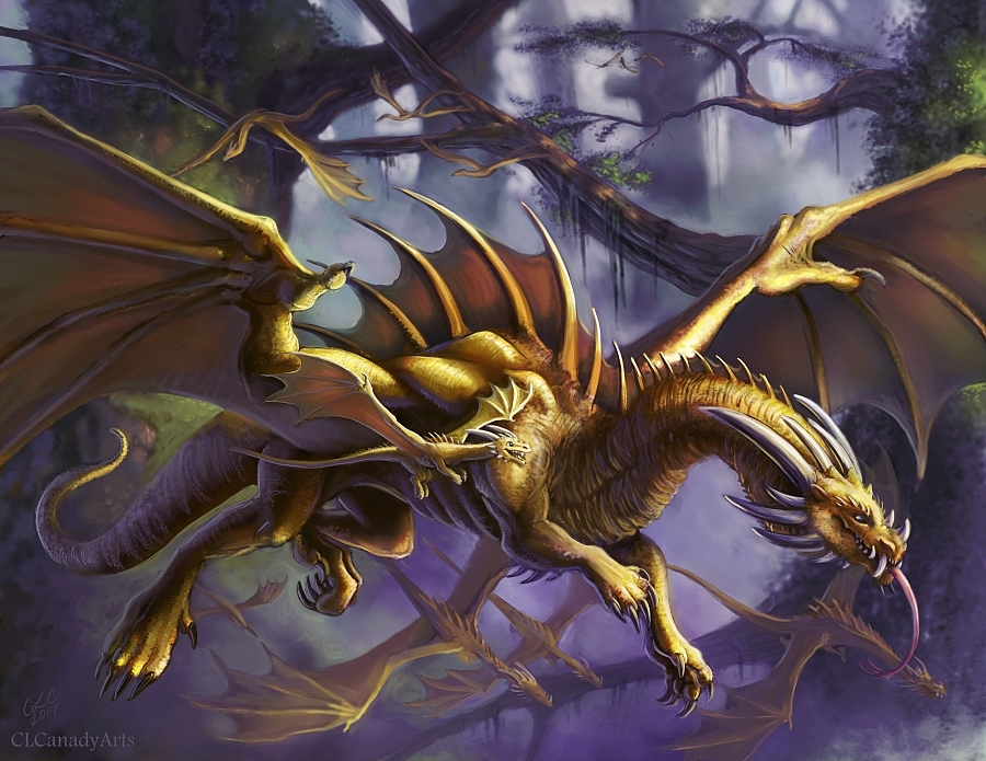 Golden dragons by CLCanadyArts