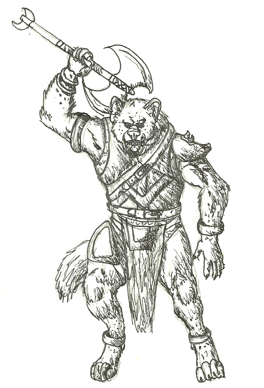 Gnoll Barbarian traditional by Jhumperdink