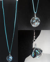 Black and Blue Dice Necklace and Earrings