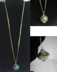 Black and Green Dice Necklace and Earrings