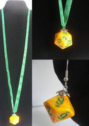 Yellow and Green Dice Necklace and Earrings