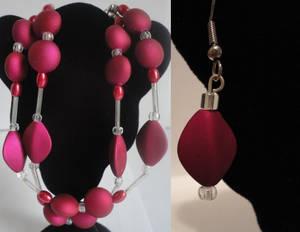 Dark Red Diamond Bracelet and Earrings
