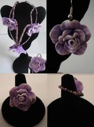 Purple-White Flower Earrings, Ring and Bracelet