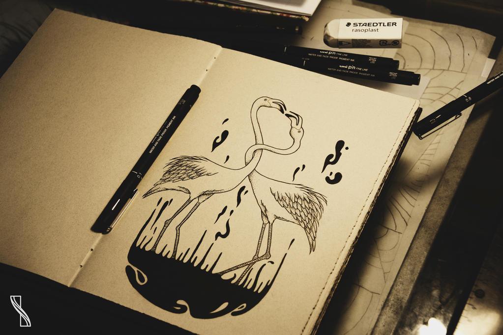 Flamingos by isabelle-teixeira