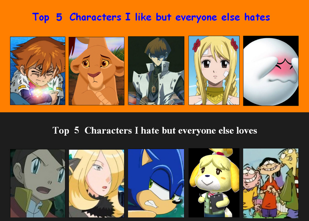 Anime Characters Everyone Hates : Ladyc s double top five characters meme by ladycharizard