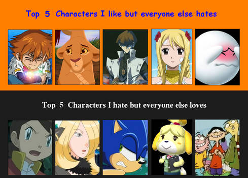 OLD - LadyC's Double Top Five Characters Meme
