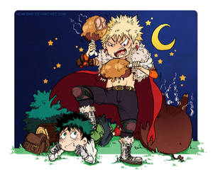 Izuku and Katsuki eating wild boar