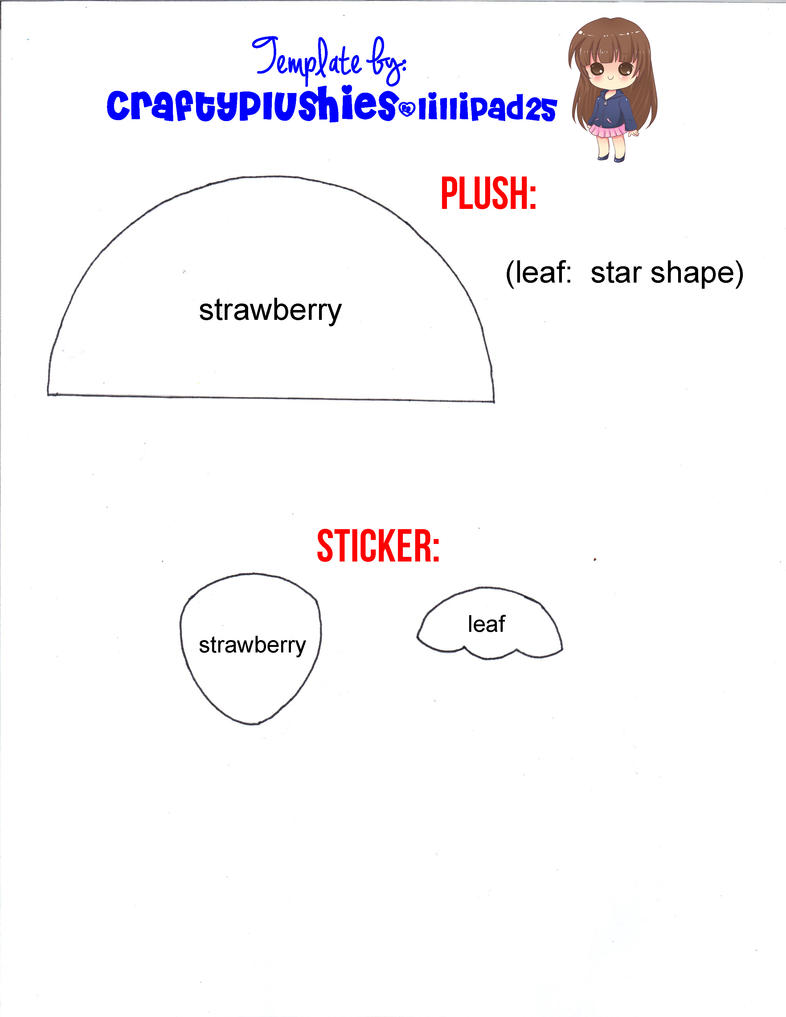 Strawberry Plush and Sticker Template by lillipad25 on DeviantArt