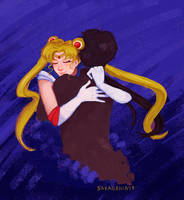 Sailor Moon and Seiya by saxagenia