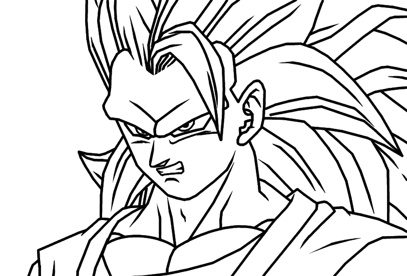 Free Coloring Pages Of Goku Super Saiyan 3: Goku Ss3 Coloring Pages