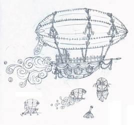 Airship Sketch by sakurafairy