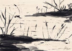 Sumi-e Ink Painting - Cattails and Water