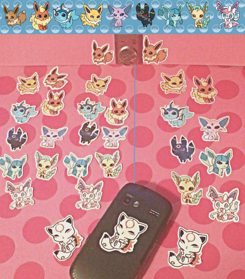 Eevee evolutions sticker set large and small by hawst r