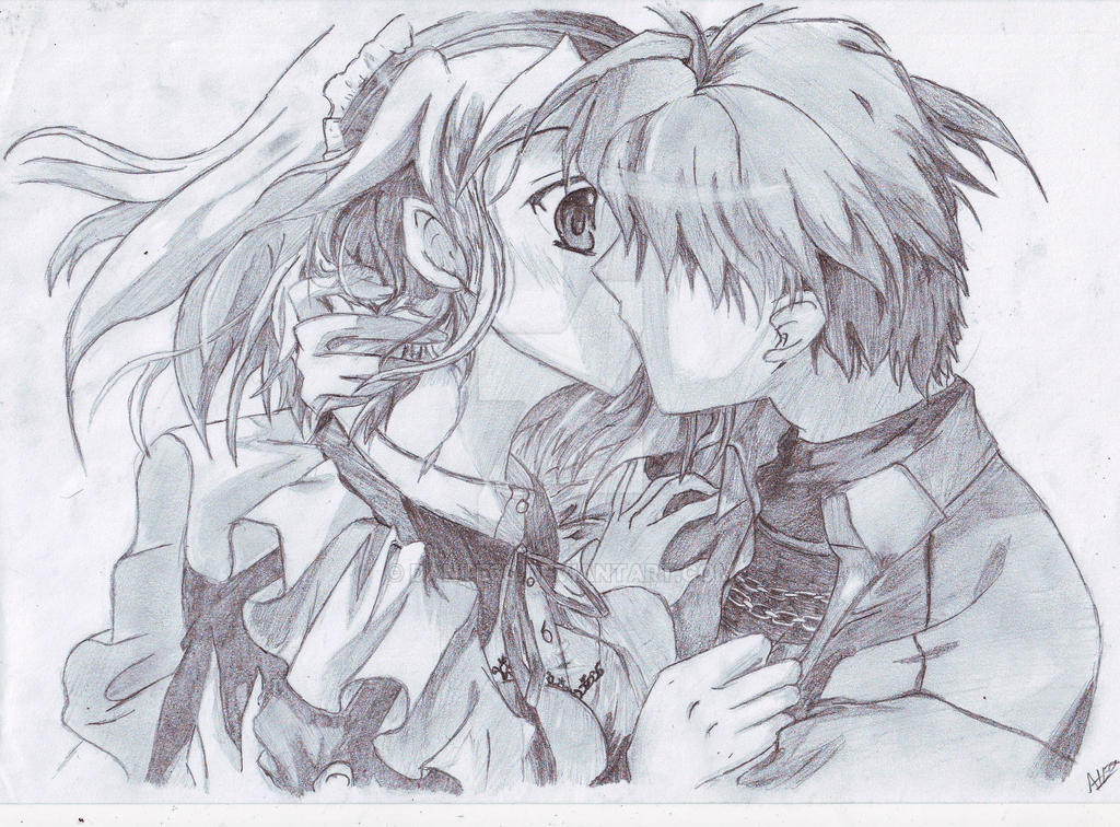 Couple kissing pencil copy by dante60