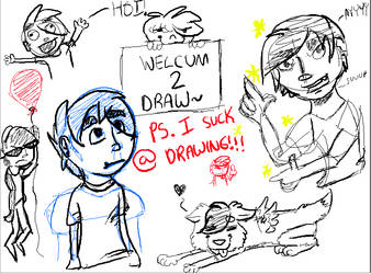 Human doodle sketch page: A derpy self portrait by WolfNightV4X1