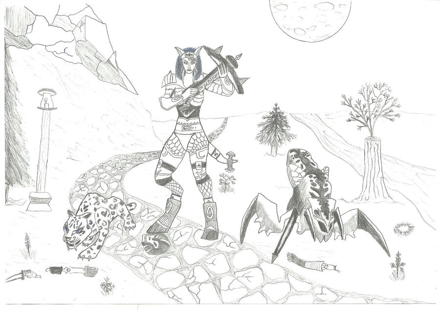 Moriann and her pets by Nebas