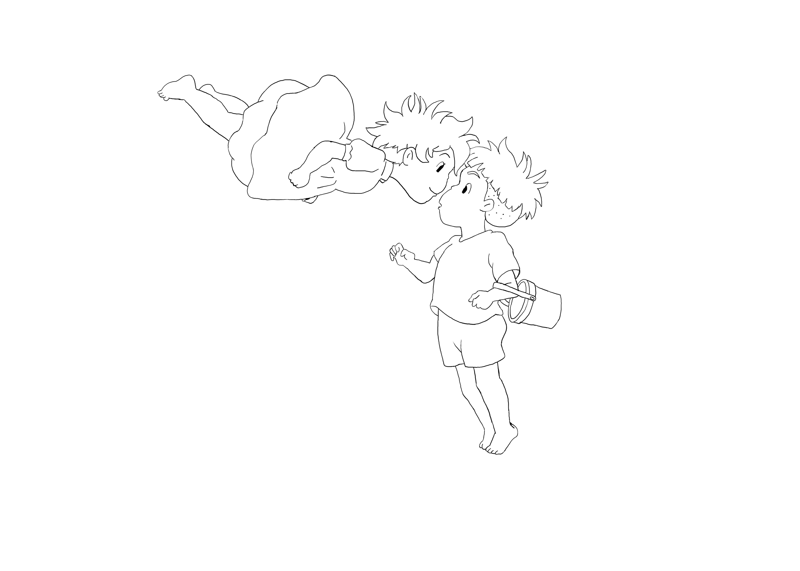Ponyo line art version by cindyvalentine on deviantart for Ponyo coloring pages