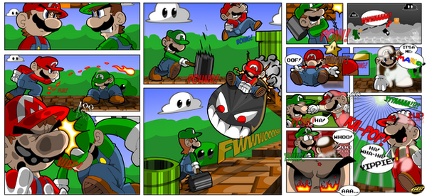 Ultimate Mario vs Luigi Fight by geogant