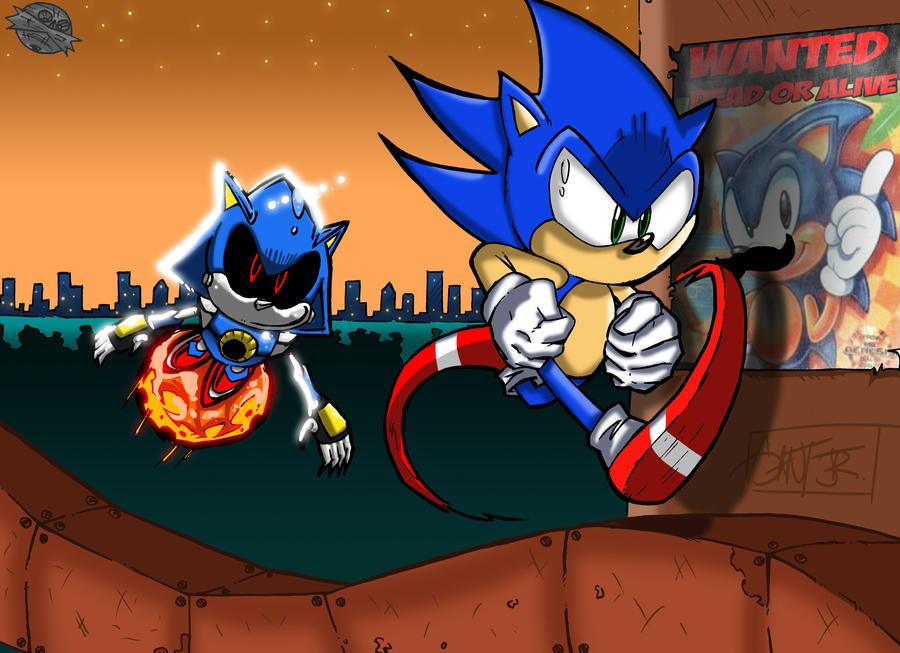 Metal Sonic vs Sonic by geogant