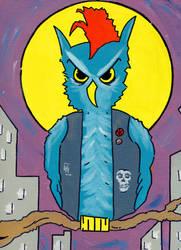 Punk Rock Owl by Phenzyart