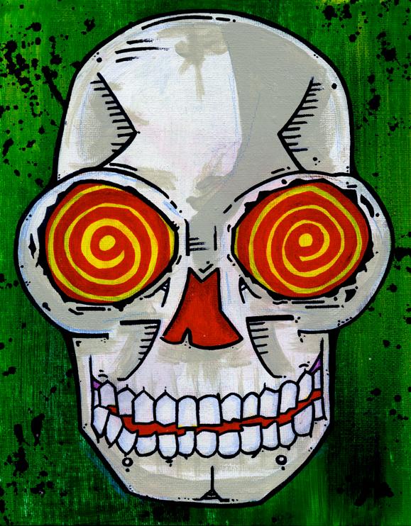 Swirly Skull by Phenzyart