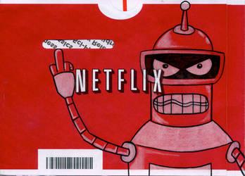 Bender on a Netflix Envelope by Phenzyart