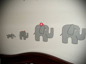 Baby's Room Elephant Mural by Phenzyart