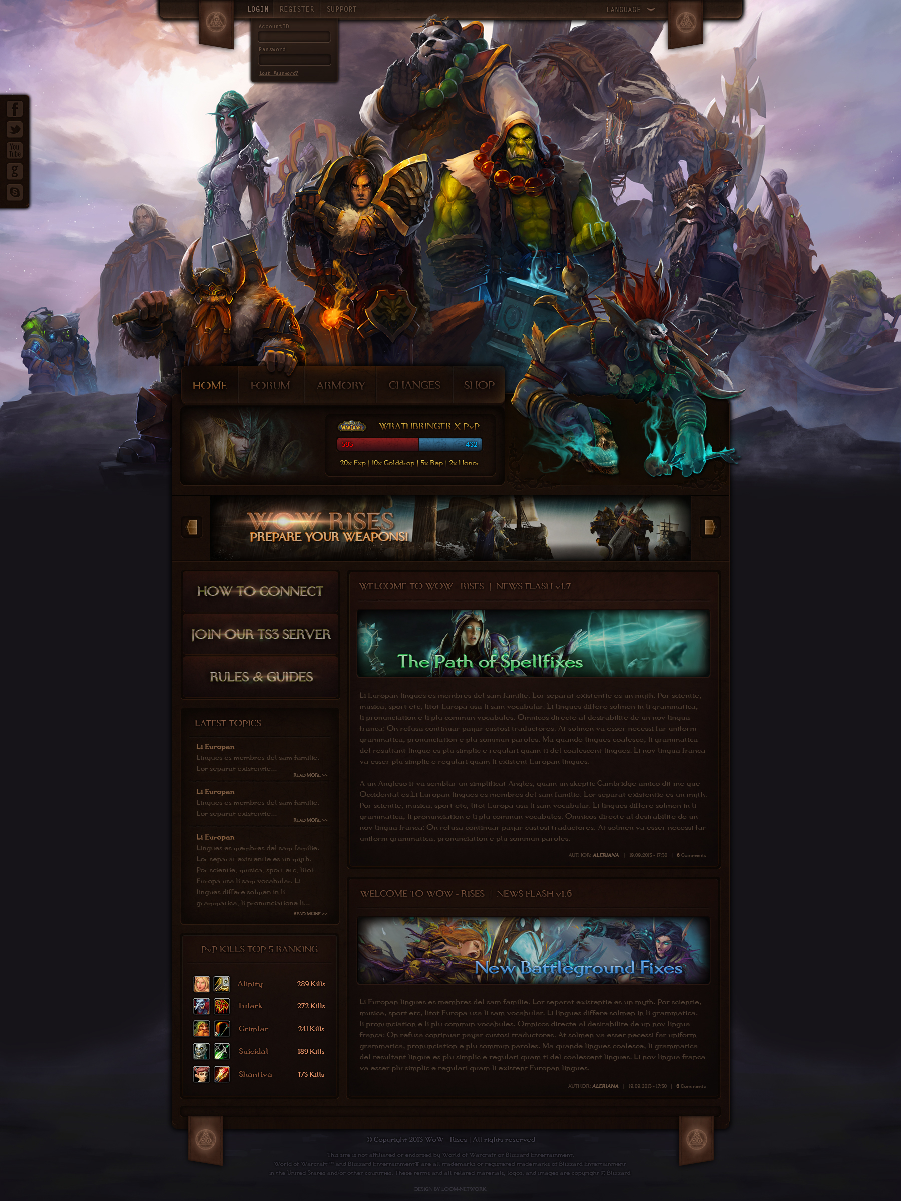 wow rises a world of warcraft website design by loomarevo on