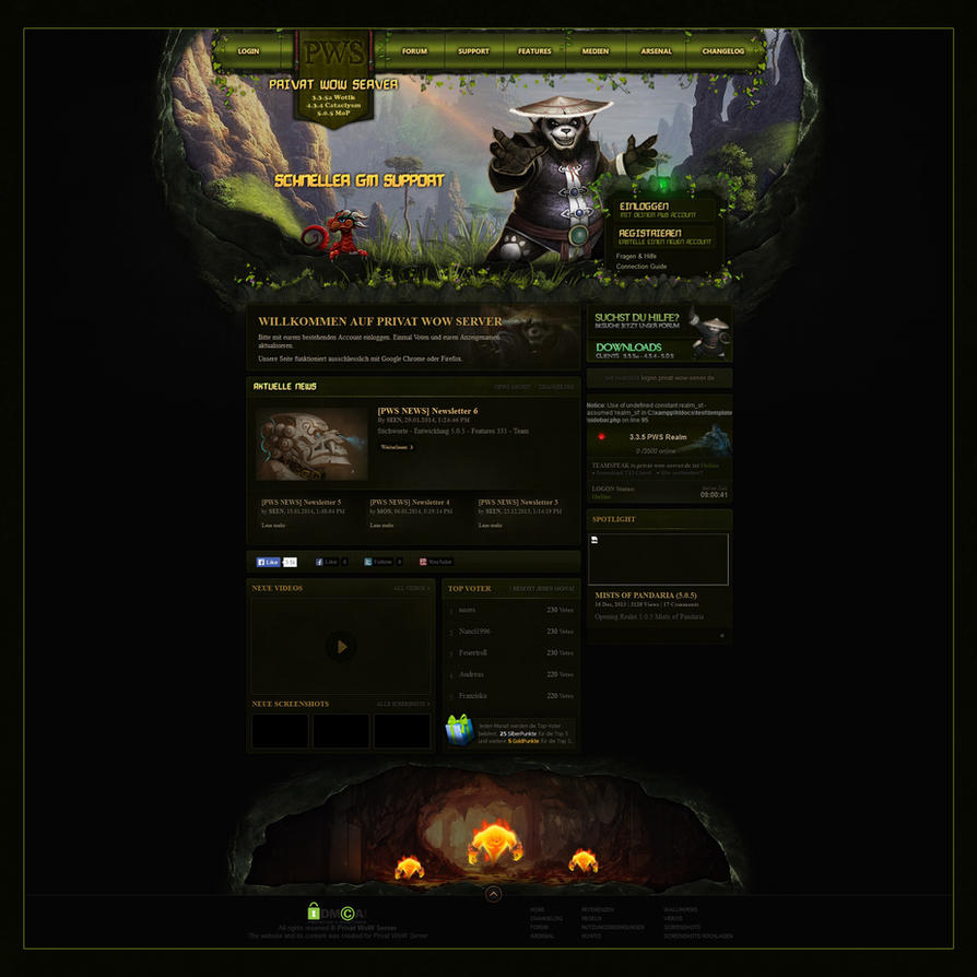 Template for Warcry CMS | PWS MoP Style by LoomarNet on DeviantArt