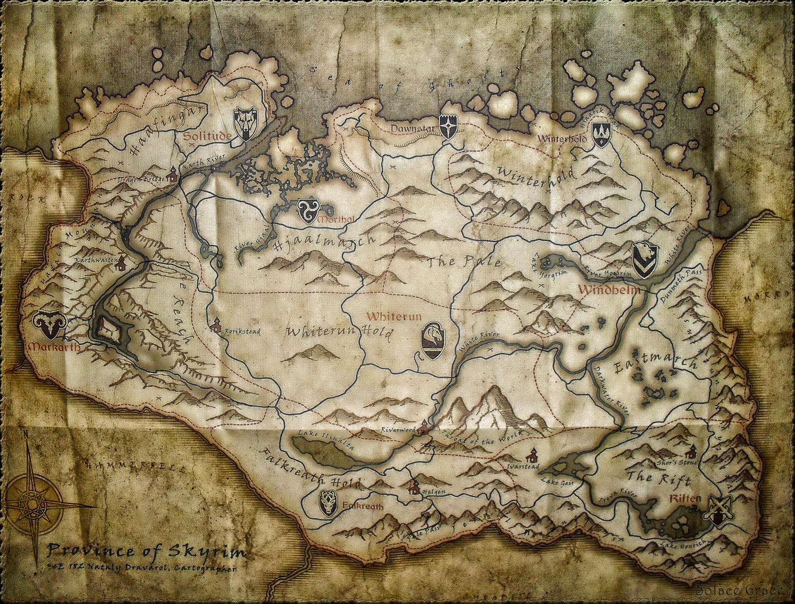 Large Skyrim Map By Solace Grace