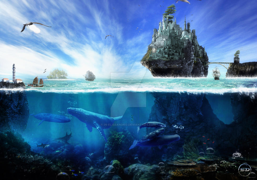 landscape. Scenery-Manipulation- Water Castle by 35-Elissandro