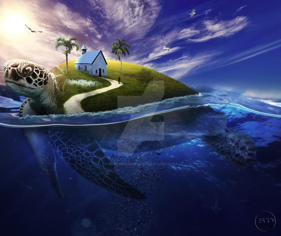 -underwater effect - (_Big tortoise_) by 35-Elissandro