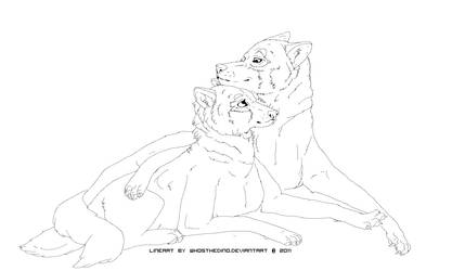 wolf couple lineart free use.