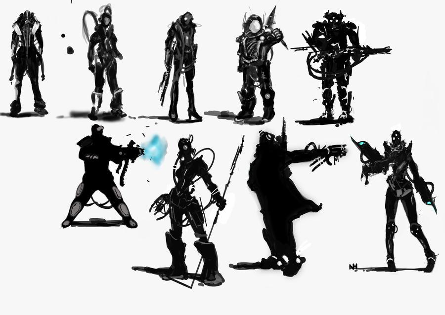 Character Development Design Process : Initial process in character design by retroafro on
