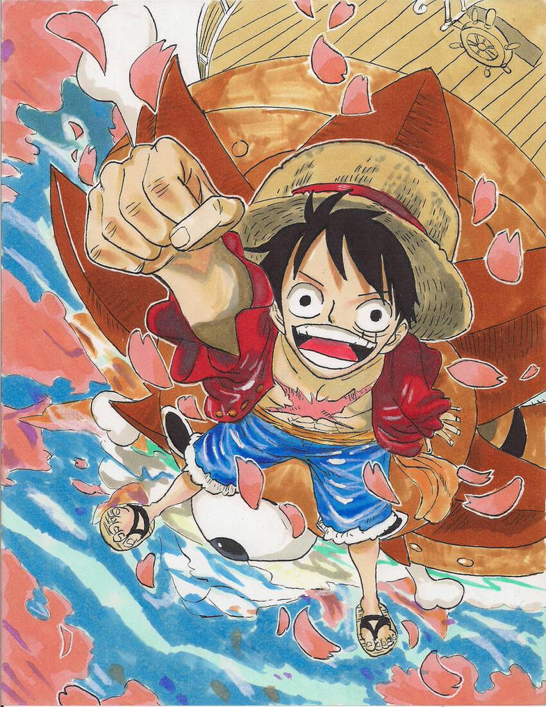 Luffy and Cherry Blossoms by HikaruMuto