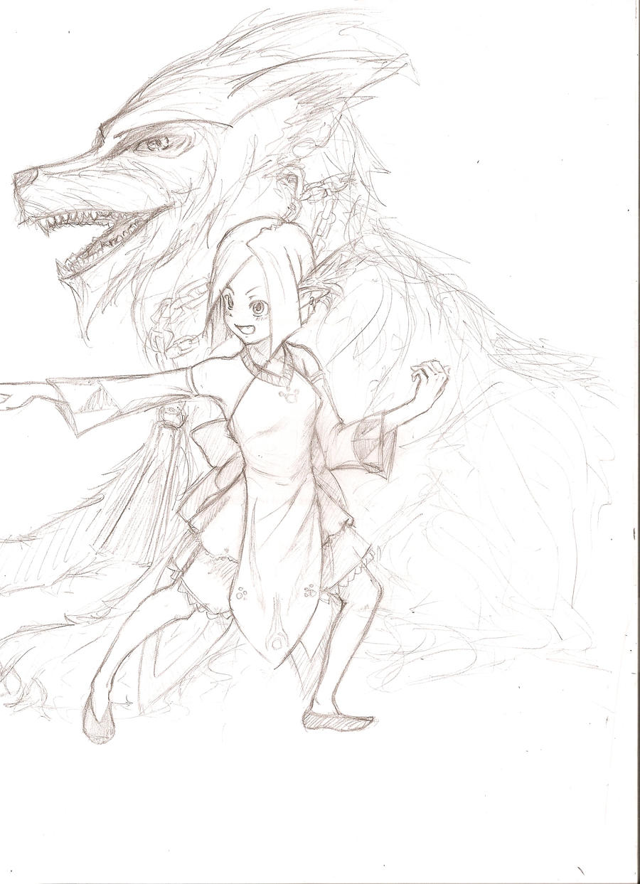 Girl and her dog by Limited-Access