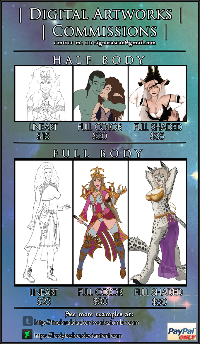 Commissions Open - New Sheet by LadyBelva