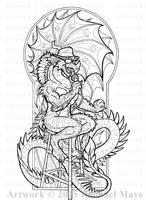 Blues Dragon 01-02 Lines by rachaelm5