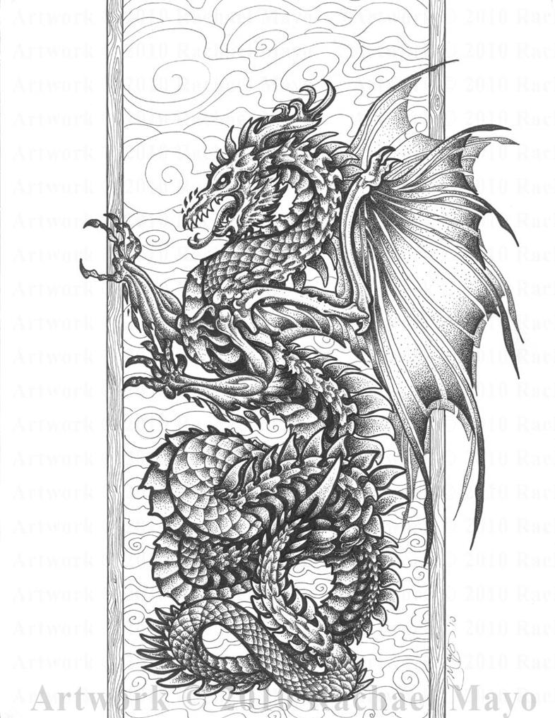 Harmony of bone and air bw by rachaelm5 on deviantart for Adult coloring pages dragons